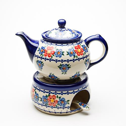 ポーランド陶器 お揃いのポットウォーマーとティーポット