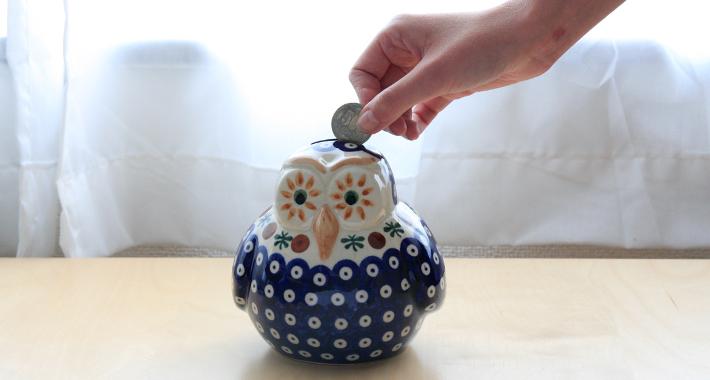 ポーランド陶器 貯金箱